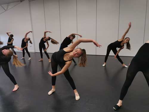 Our senior contemporary dancers working hard in the Dance Expression studio