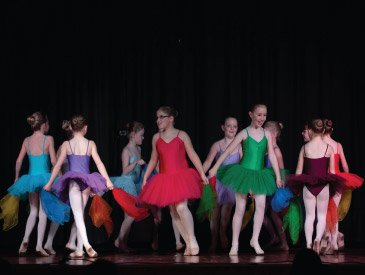 Ballerinas in bright tutus Dance Expression show