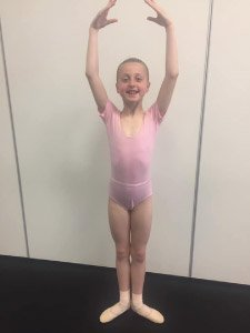 One of our Grade two Ballerinas practicing in the studio